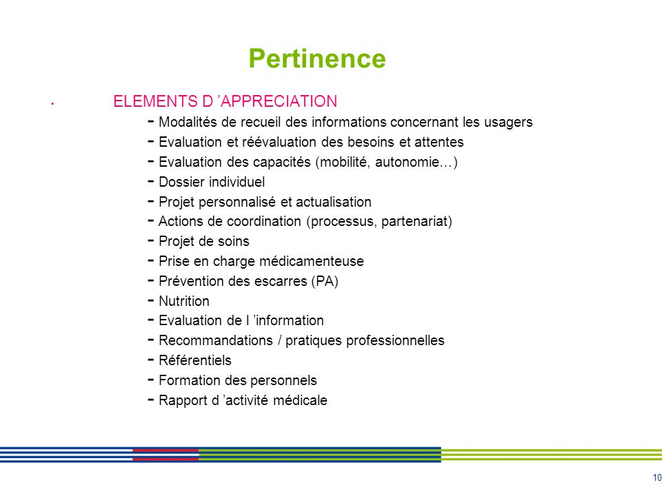 Pertinence ELEMENTS D 'APPRECIATION