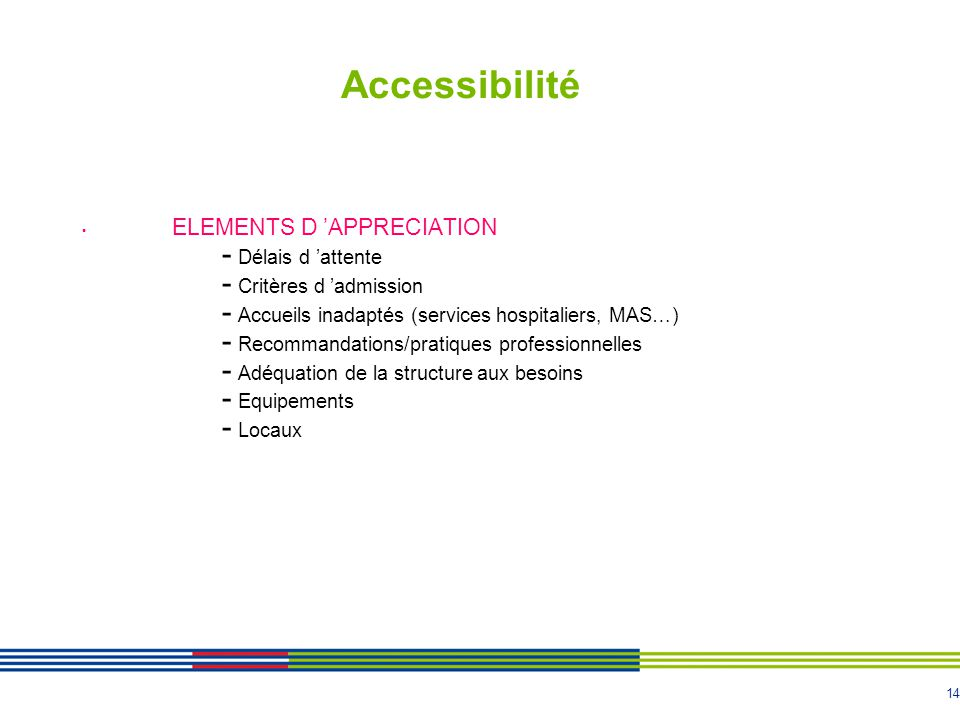 Accessibilité ELEMENTS D 'APPRECIATION Délais d 'attente