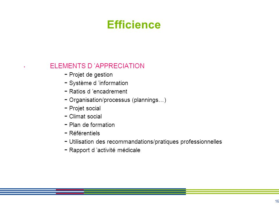 Efficience ELEMENTS D 'APPRECIATION Projet de gestion