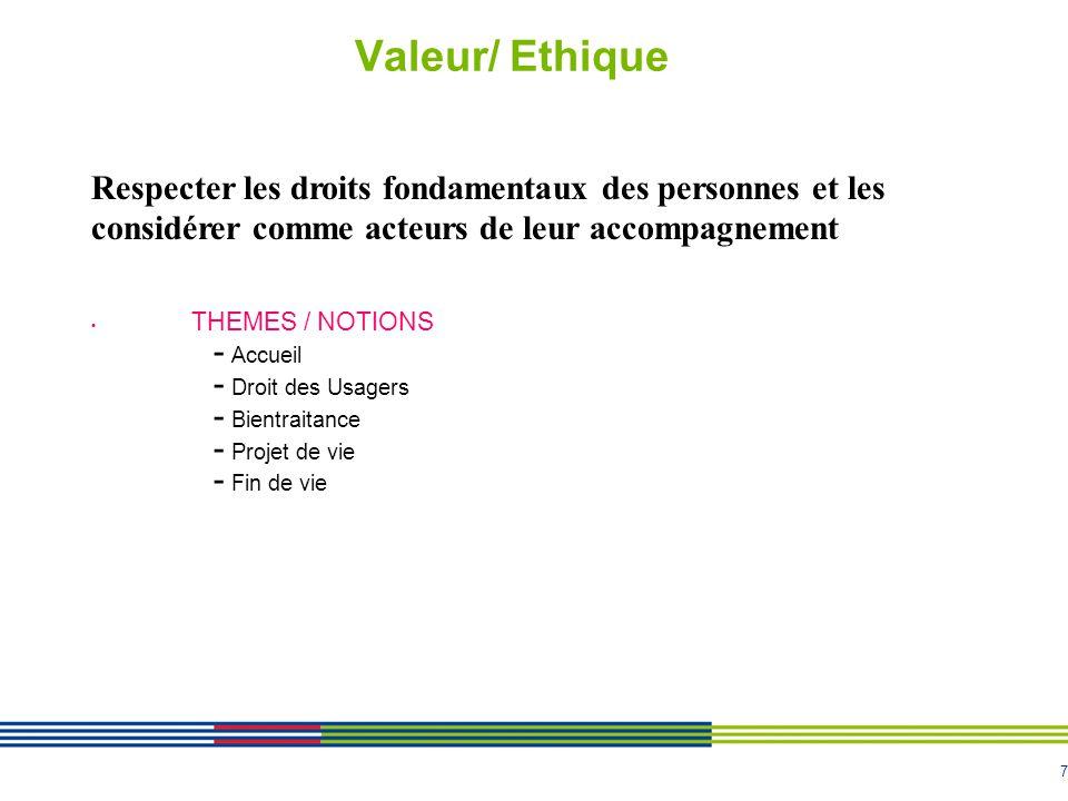 Valeur/ Ethique Respecter les droits fondamentaux des personnes et les considérer comme acteurs de leur accompagnement.