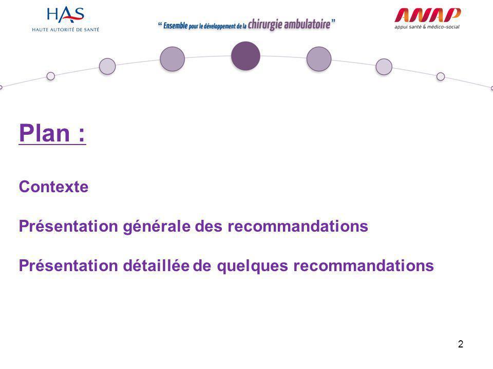 Plan : Contexte Présentation générale des recommandations
