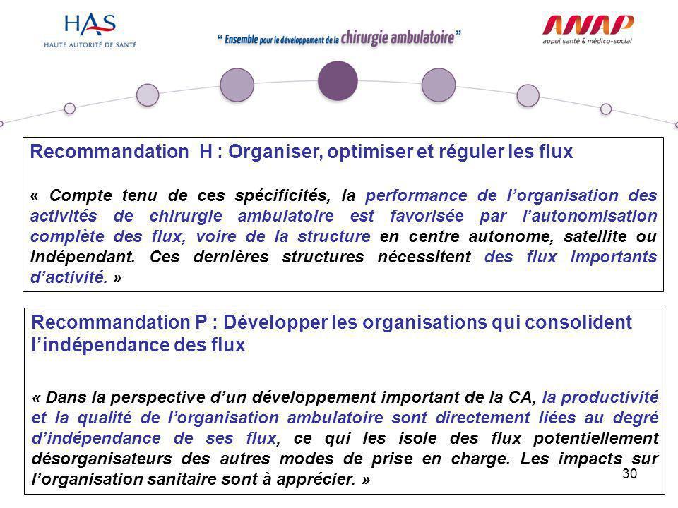 Recommandation H : Organiser, optimiser et réguler les flux
