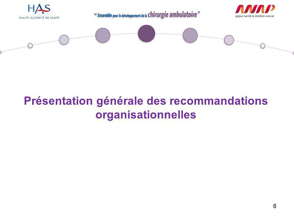 Présentation générale des recommandations organisationnelles