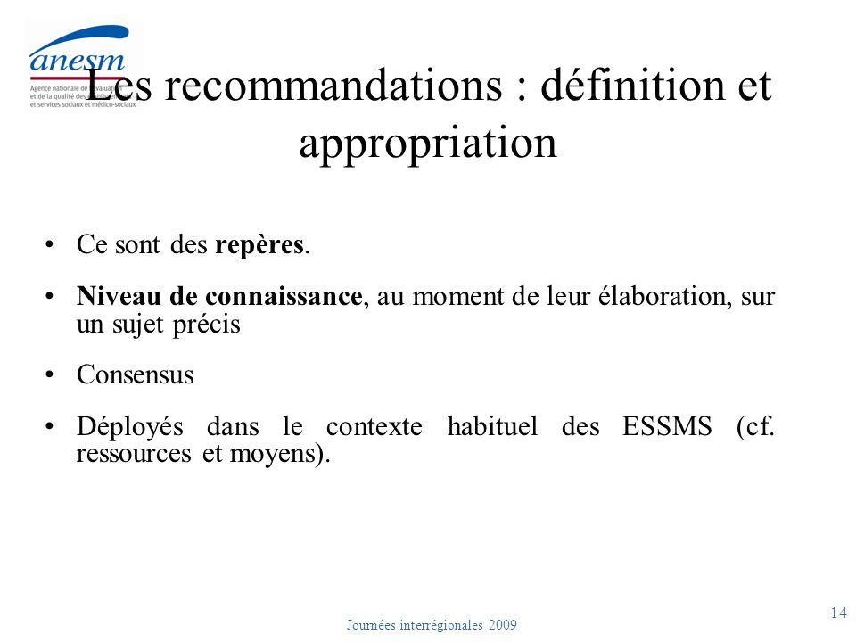 Les recommandations : définition et appropriation