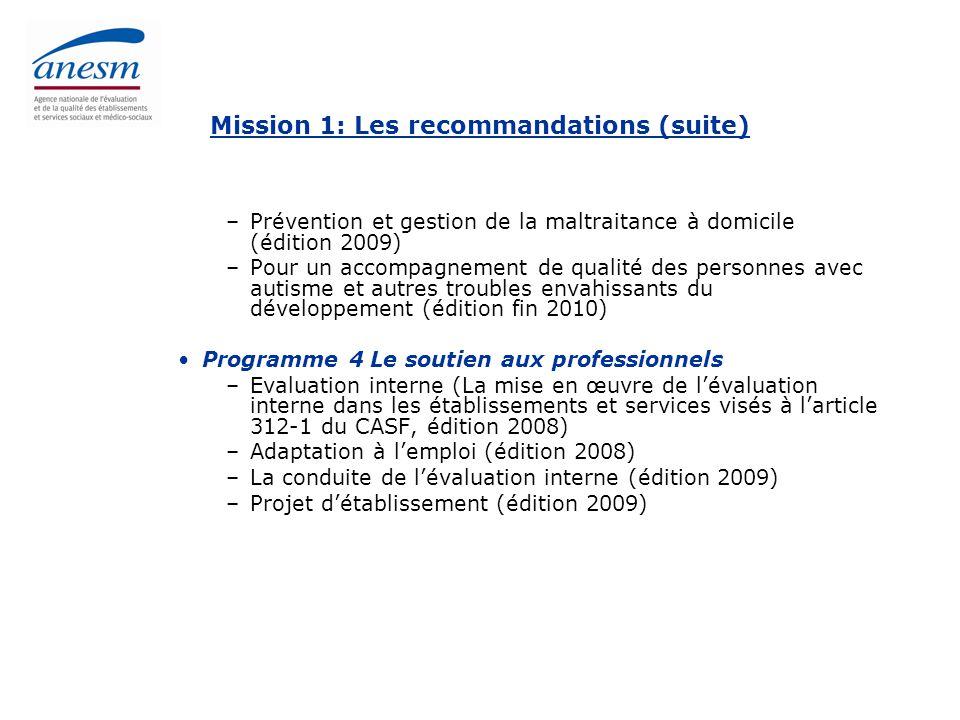 Mission 1: Les recommandations (suite)