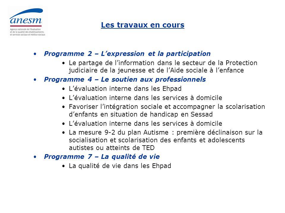 Les travaux en cours Programme 2 – L'expression et la participation