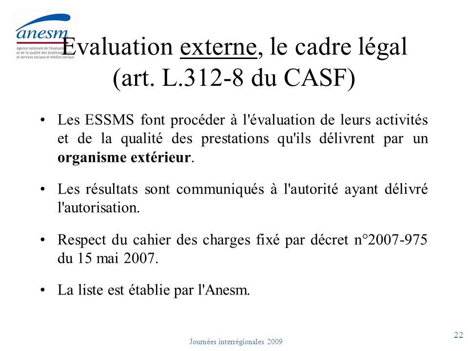 Evaluation externe, le cadre légal (art. L.312-8 du CASF)