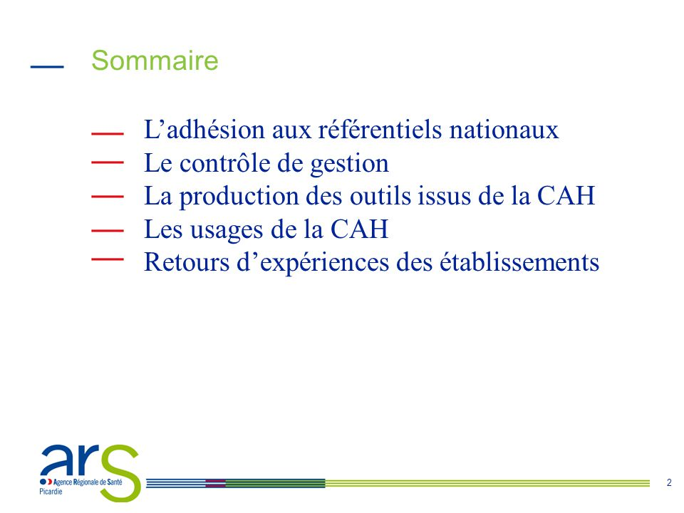 Sommaire L'adhésion aux référentiels nationaux. Le contrôle de gestion. La production des outils issus de la CAH.