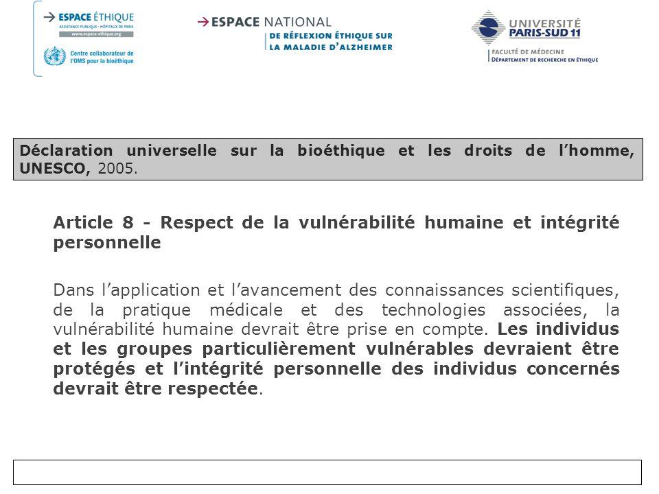 Déclaration universelle sur la bioéthique et les droits de l'homme, UNESCO, 2005.