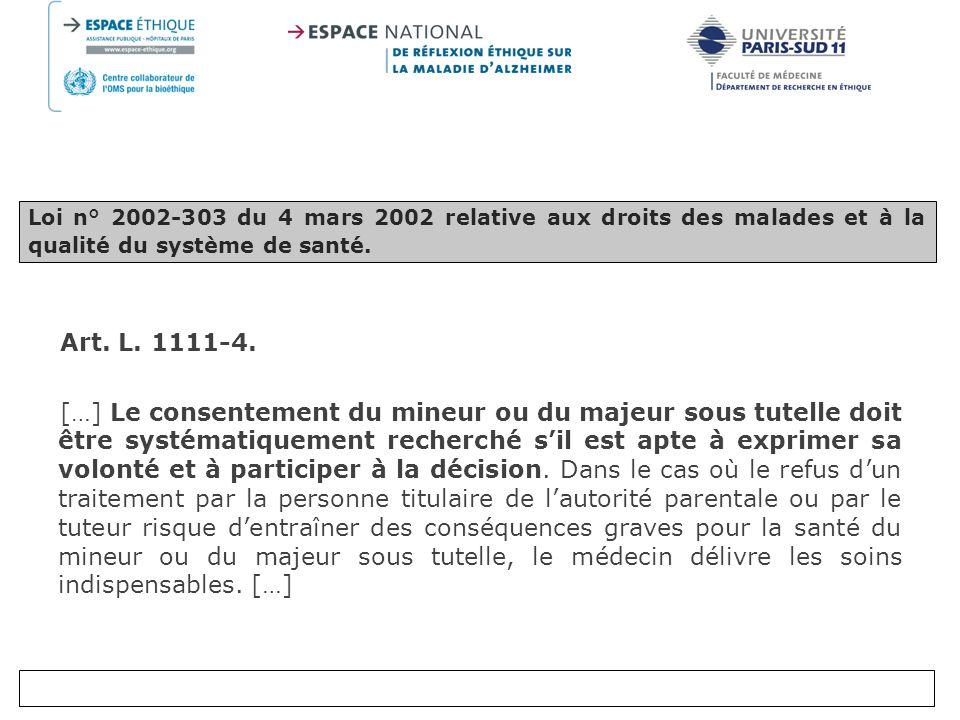 Loi n° 2002-303 du 4 mars 2002 relative aux droits des malades et à la qualité du système de santé.
