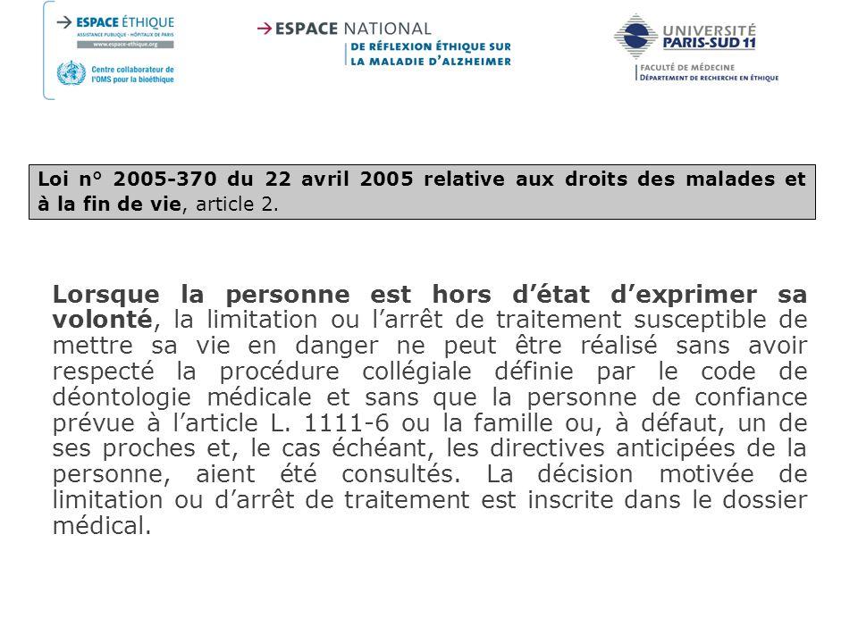 Loi n° 2005-370 du 22 avril 2005 relative aux droits des malades et à la fin de vie, article 2.