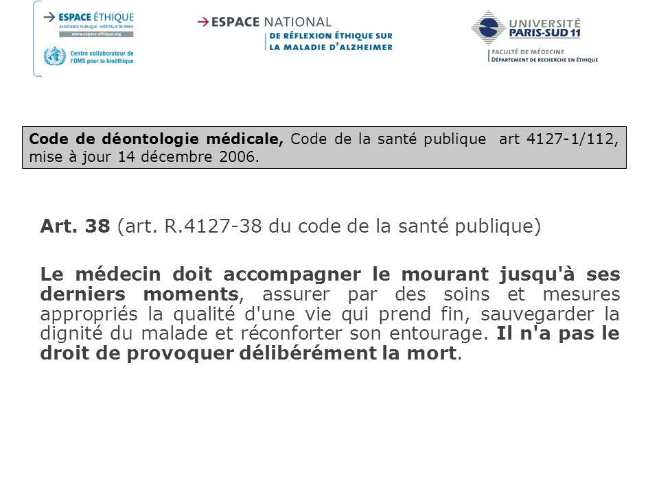 Art. 38 (art. R.4127-38 du code de la santé publique)