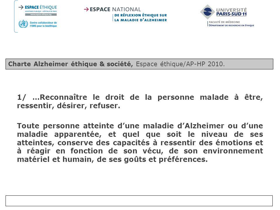 Charte Alzheimer éthique & société, Espace éthique/AP-HP 2010.