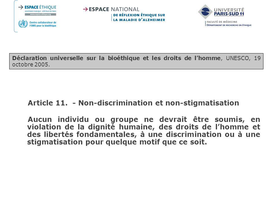 Article 11. - Non-discrimination et non-stigmatisation