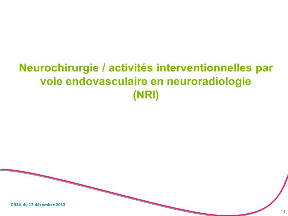 Neurochirurgie / activités interventionnelles par voie endovasculaire en neuroradiologie