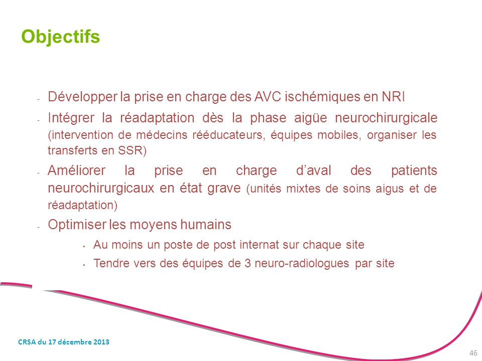 Objectifs Développer la prise en charge des AVC ischémiques en NRI