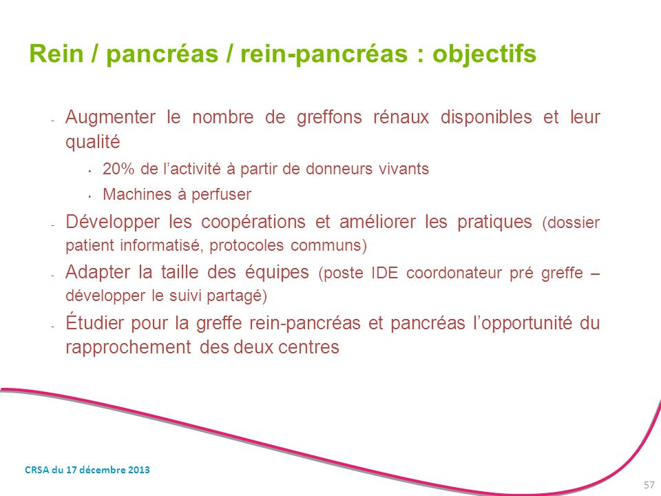 Rein / pancréas / rein-pancréas : objectifs