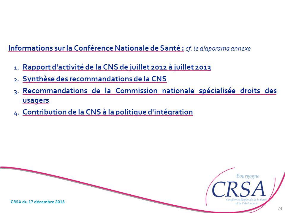 Rapport d activité de la CNS de juillet 2012 à juillet 2013