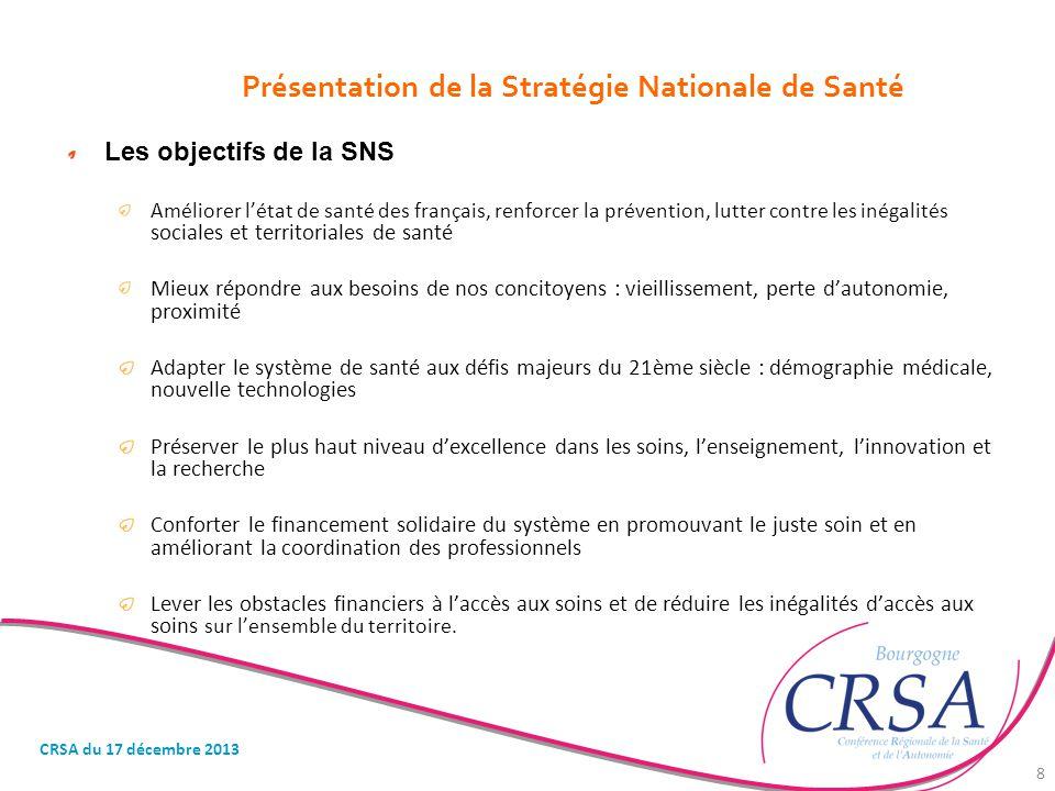 Présentation de la Stratégie Nationale de Santé