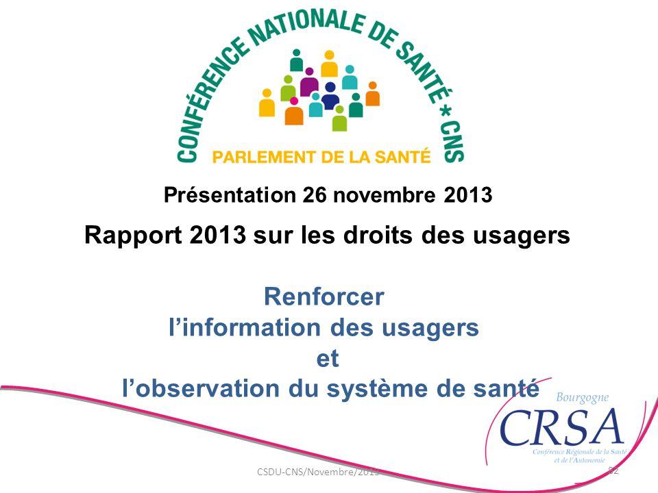 Rapport 2013 sur les droits des usagers l'information des usagers