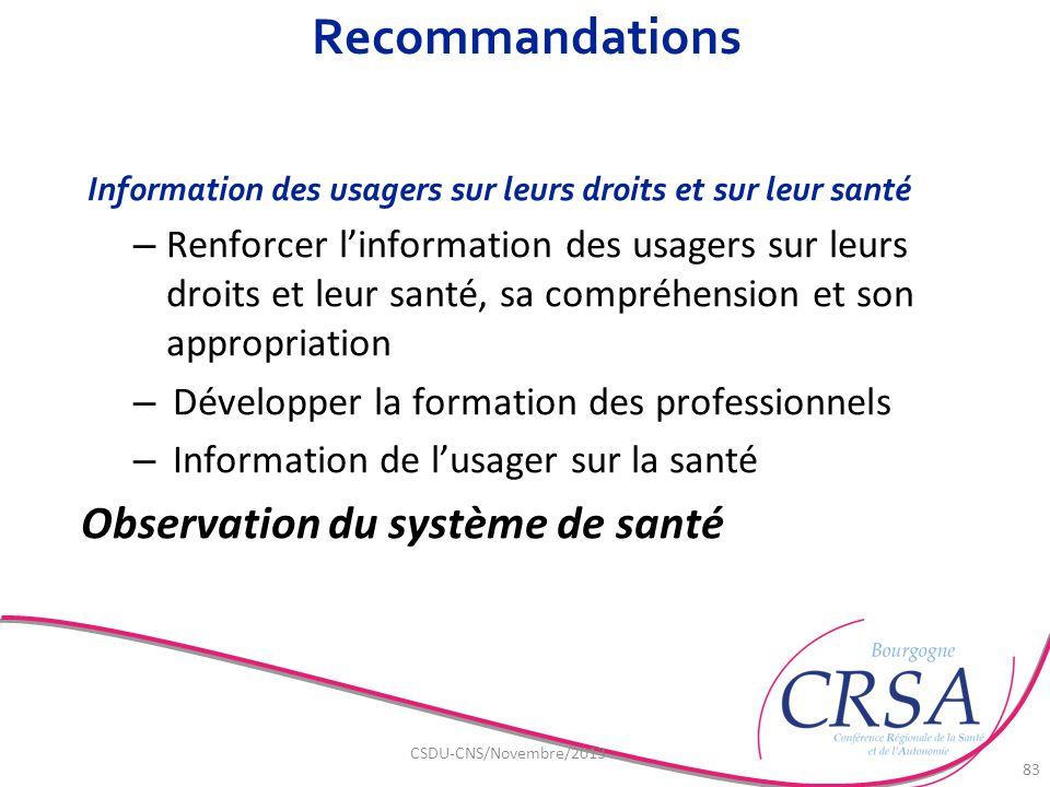 Recommandations Observation du système de santé