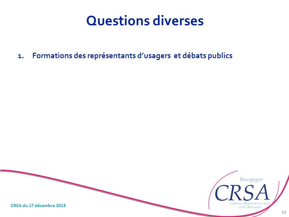 Questions diverses Formations des représentants d'usagers et débats publics.