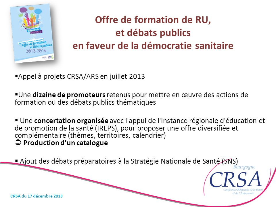 Offre de formation de RU, et débats publics en faveur de la démocratie sanitaire