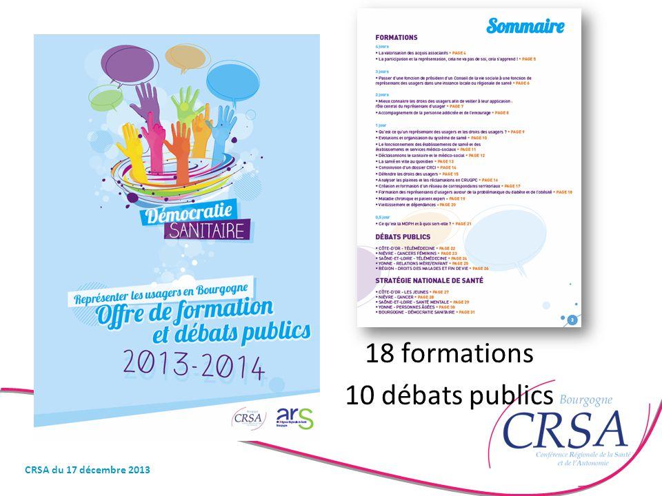 18 formations 10 débats publics