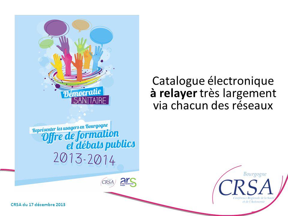 Catalogue électronique à relayer très largement via chacun des réseaux