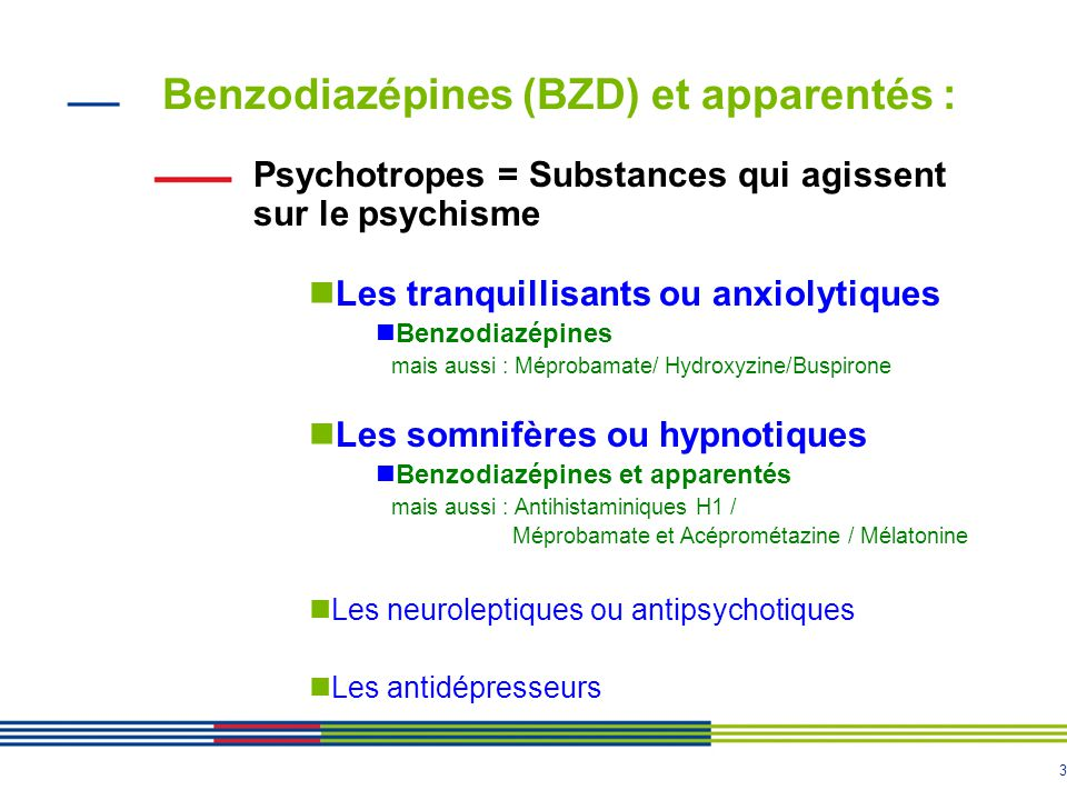 Benzodiazépines (BZD) et apparentés :