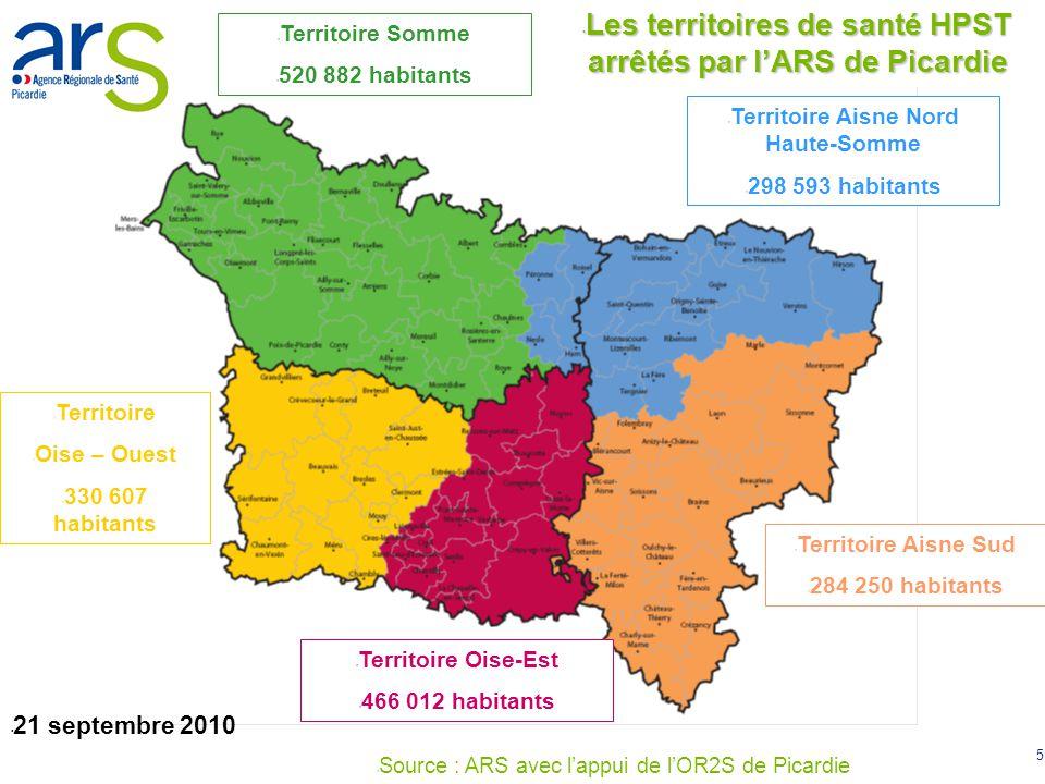 Les territoires de santé HPST arrêtés par l'ARS de Picardie