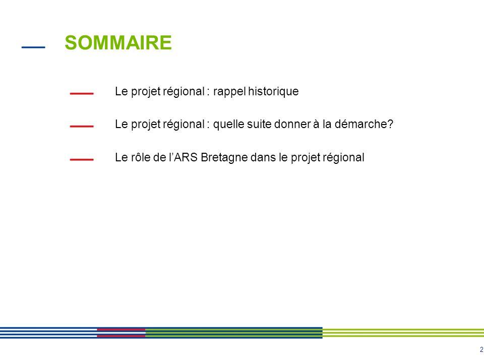 SOMMAIRE Le projet régional : rappel historique
