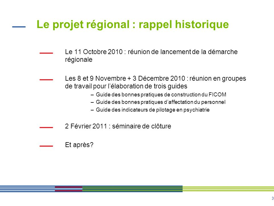 Le projet régional : rappel historique