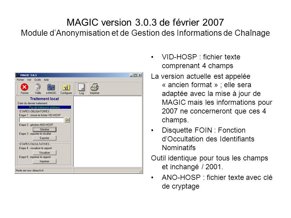 MAGIC version 3.0.3 de février 2007 Module d'Anonymisation et de Gestion des Informations de Chaînage