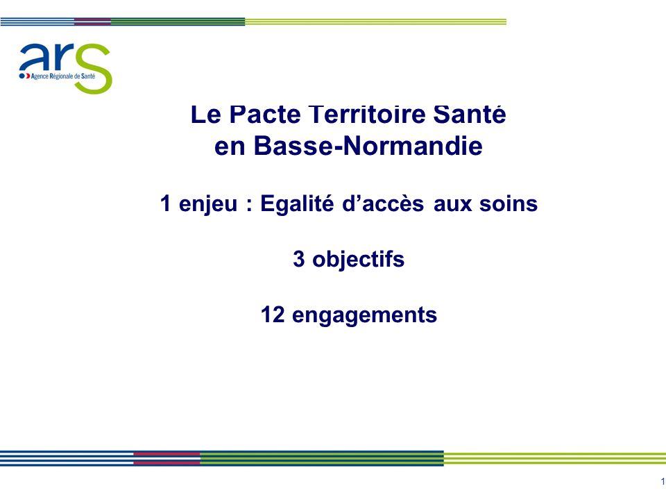 Le Pacte Territoire Santé en Basse-Normandie 1 enjeu : Egalité d'accès aux soins 3 objectifs 12 engagements