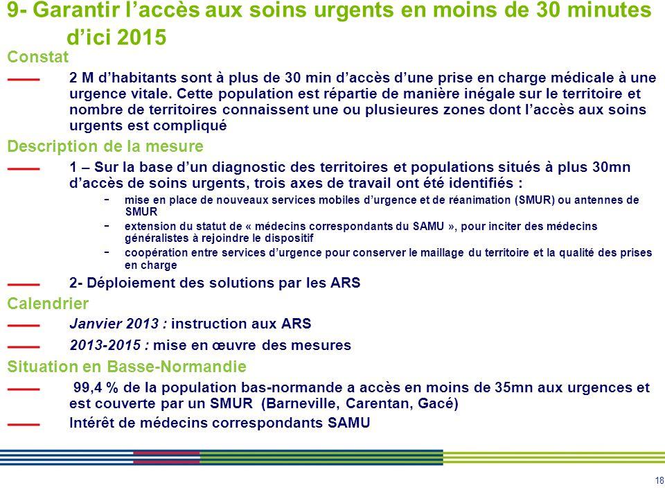 9- Garantir l'accès aux soins urgents en moins de 30 minutes d'ici 2015