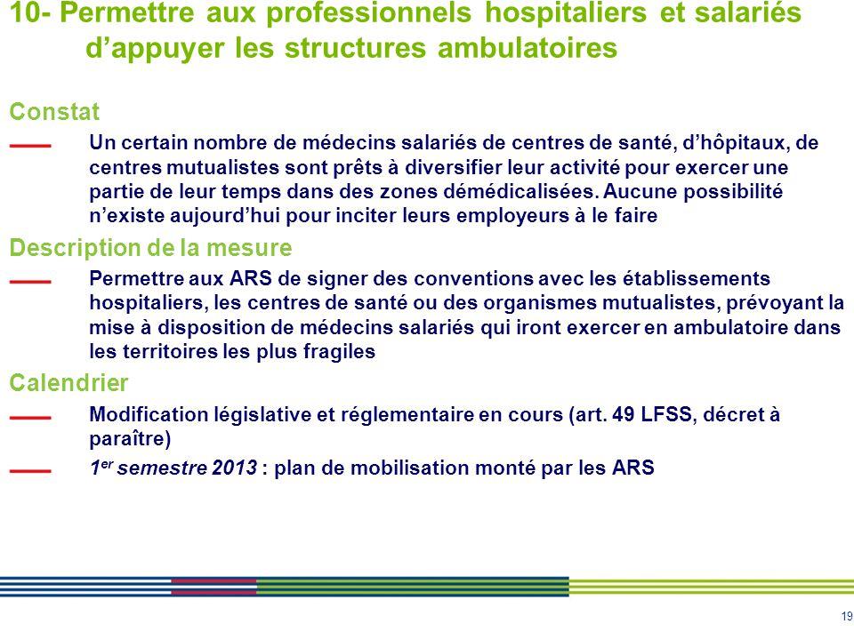 10- Permettre aux professionnels hospitaliers et salariés d'appuyer les structures ambulatoires