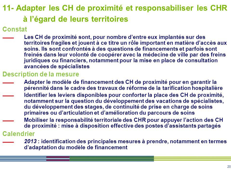 11- Adapter les CH de proximité et responsabiliser les CHR à l'égard de leurs territoires