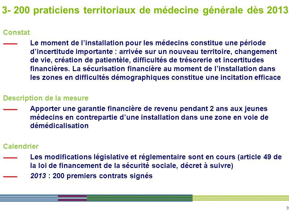 3- 200 praticiens territoriaux de médecine générale dès 2013