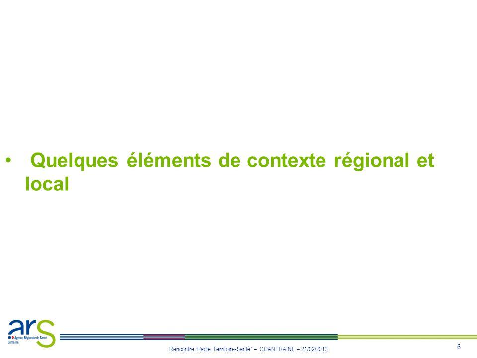 Quelques éléments de contexte régional et local
