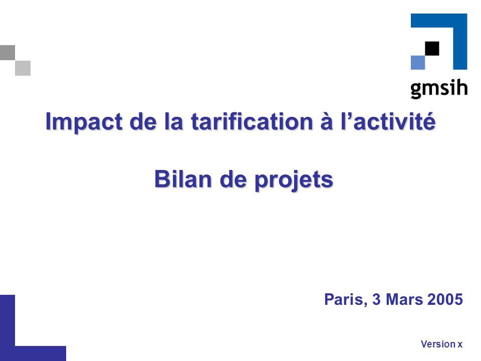 Impact de la tarification à l'activité Bilan de projets
