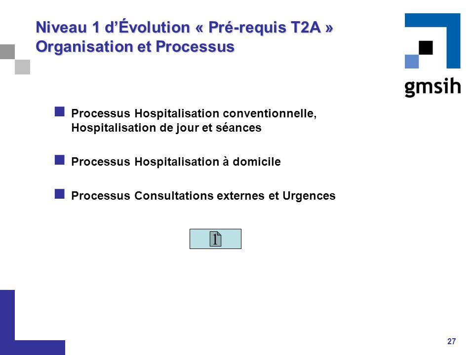 Niveau 1 d'Évolution « Pré-requis T2A » Organisation et Processus