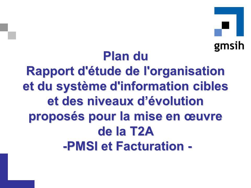 Plan du Rapport d étude de l organisation et du système d information cibles et des niveaux d'évolution proposés pour la mise en œuvre de la T2A -PMSI et Facturation -