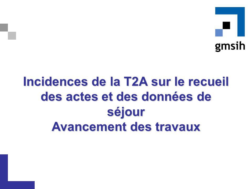 Incidences de la T2A sur le recueil des actes et des données de séjour Avancement des travaux