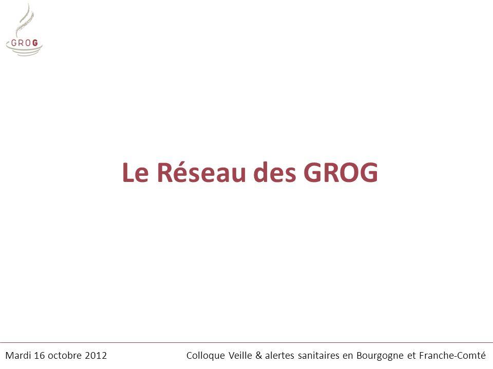 Le Réseau des GROG Mardi 16 octobre 2012 Colloque Veille & alertes sanitaires en Bourgogne et Franche-Comté.
