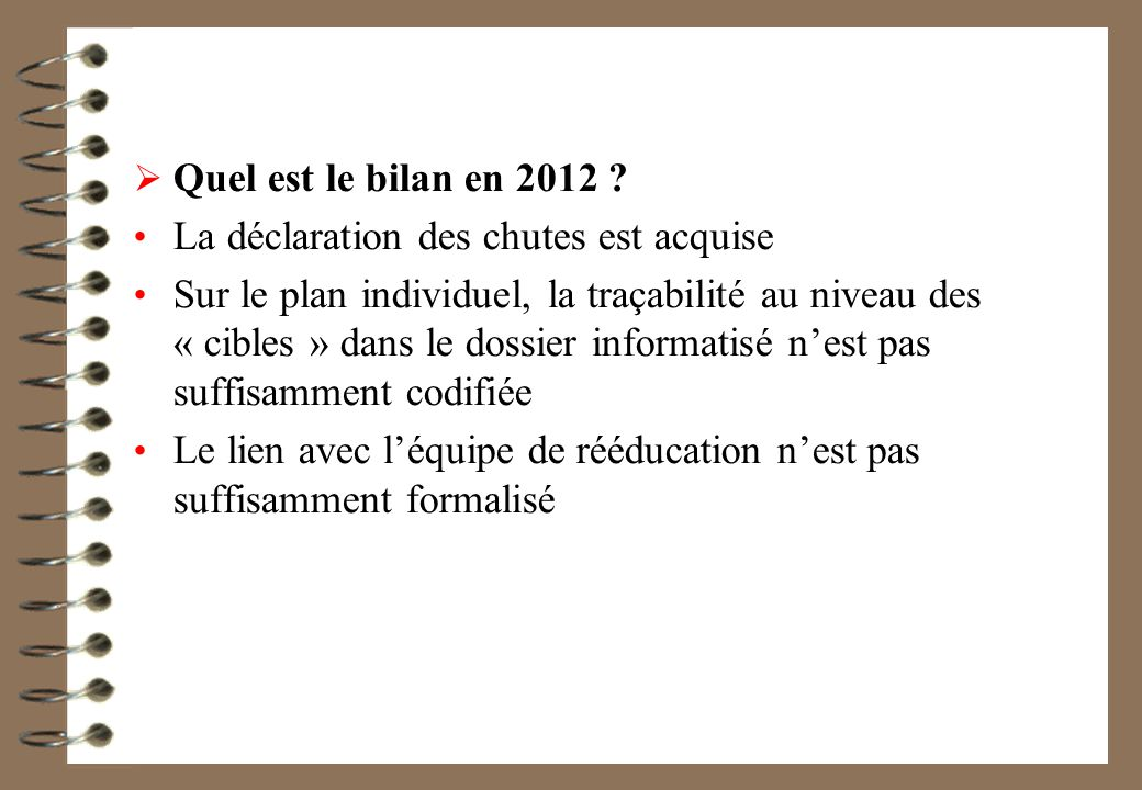 Quel est le bilan en 2012 La déclaration des chutes est acquise.