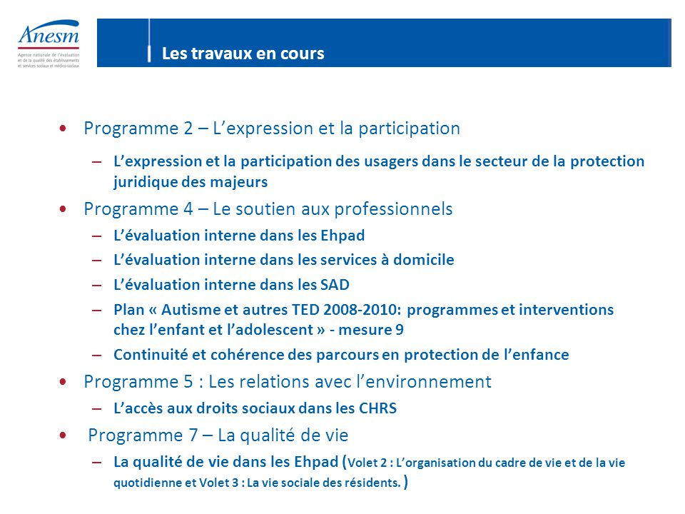 Programme 2 – L'expression et la participation