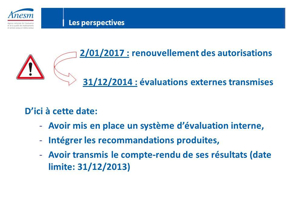 31/12/2014 : évaluations externes transmises D'ici à cette date: