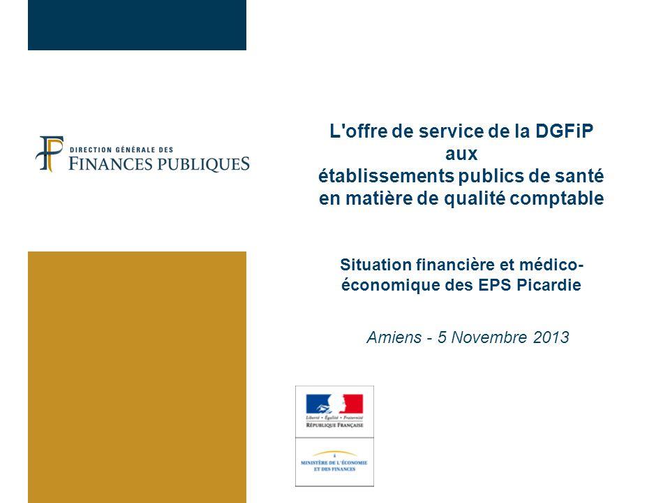 L offre de service de la DGFiP aux établissements publics de santé en matière de qualité comptable Situation financière et médico-économique des EPS Picardie Amiens - 5 Novembre 2013