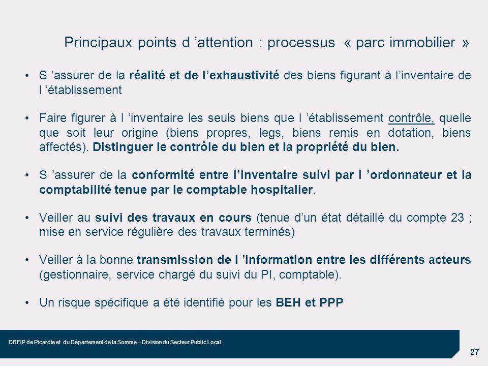 Principaux points d 'attention : processus « parc immobilier »